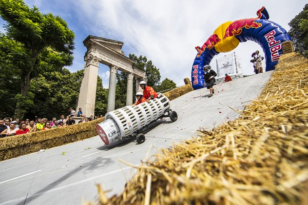 Participants perform at Red Bull Soapbox Race in Rome, Italy on June 24, 2018. // Damiano Levati/Red Bull Content Pool // AP-1W2XBK7P92111 // Usage for editorial use only // Please go to www.redbullcontentpool.com for further information. //