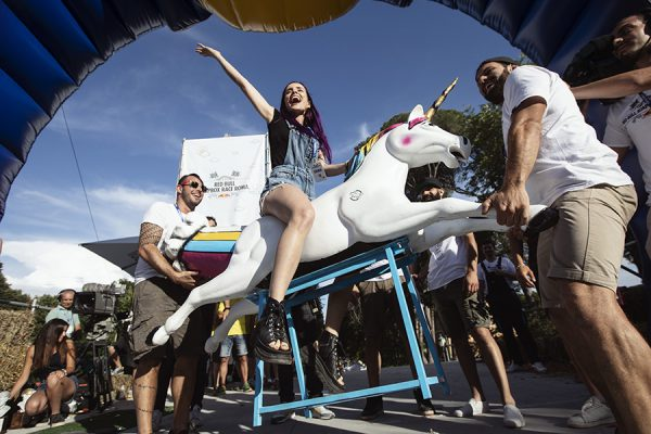 Participants perform at Red Bull Soapbox Race in Rome, Italy on June 24, 2018. // Mauro Puccini/Red Bull Content Pool // AP-1W2XJEJA12111 // Usage for editorial use only // Please go to www.redbullcontentpool.com for further information. //
