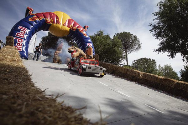 Participants  perform during the Red Bull Soapbox Race in Rome, Italy on June 24, 2018 // Mauro Puccini/Red Bull Content Pool // AP-1W2XJ5XSN2111 // Usage for editorial use only // Please go to www.redbullcontentpool.com for further information. //